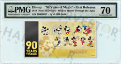 2018 Gold Mickey Mouse 90th Anniversary - 1g Coin Note - Pmg 70 First Releases