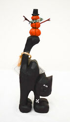 USA-Made Hand-Carved Black Cat with Pumpkin