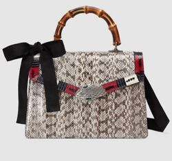 Brand New Authentic Python Pattern Leather Bamboo Top Handle Bag 453750