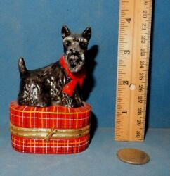 SCOTTISH TERRIER TRINKET BOX  DOG  CERAMIC  FIGURINE