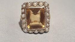 Antique Victorian 14k Yellow Citrine And Pearl Seeds Ring