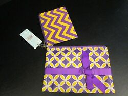 Purple Gold Cosmetic Cases by Mud Pie Set of 2 NWT $14.95