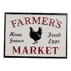 Farmers Market Metal Sign Vintage Inspired with Embossed Letters and Chicken