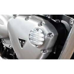 Motone Ribbed Acg Cover - Polished Triumph Street Twin T120 Thruxton Bobber