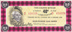 Canadian Tire Mor-power Gas Bars 20+20 Cents Note - Mp3b-40d2