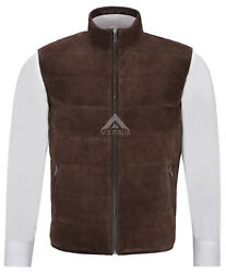 Menand039s Quilted Leather Waistcoat Brown Real Suede Leather Fashion Gilet Vest 1799