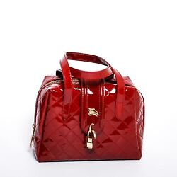 BURBERRY Women's Red Patent Leather Quilted Handbag Small Hobo Tote Satchel Bag