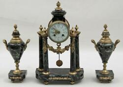 Clock Set French Bronze And Marble 3 Pc. 19th C. 1800s Gorgeous Antique