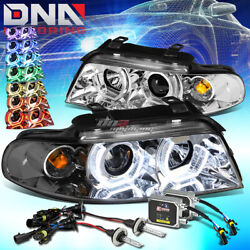 CHROME RGB COLOR RING HALO PROJECTOR HEADLIGHT+6000K HID KIT FIT 96-01 B5 A4