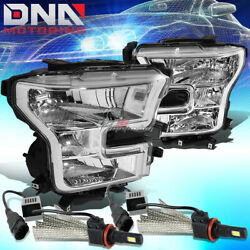 Chrome Headlight Clear Reflector Lamp+bulb+6000k White Led System Fit 15-17 F150