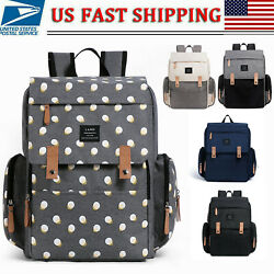LAND Mummy Maternity Backpack Diaper Bag w Roller Hook Baby Diaper Changing Pad $36.99