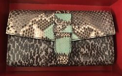 NEW $1025 Lancel Snakeskin Multicolor Animal Print Continental Wallet Women's