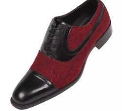 NEW Bolano Mens BlackRed Herringbone & Black Smooth Cap-Toe Oxford Thoreau-212