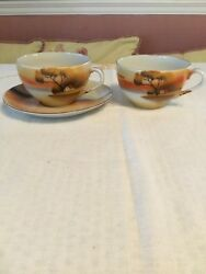 TRICO 2 Tea Cups & 1 SAUCER COTTAGE BY LAKE~NYGOYA JAPAN