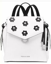 New Michael Kors Bristol Leather backpack White silver bag handbag floral stud $169.99