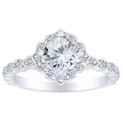 1.33 Cushion And Round Natural Diamond Solitaire Engagement Ring In 14k Solid Gold
