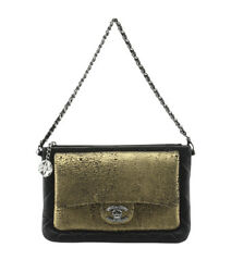Chanel Gold & Black Quilted Leather Evening Bag
