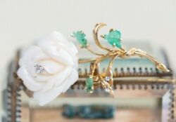 Vintage 14K Angel Skin Coral Emerald and Diamond Rose Brooch Pin