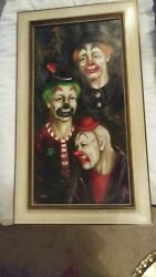 Mid-century Clown Oil Painting On Canvas By Parks W/frame 23 X 37