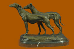 Bronze Sculpture Two Greyhounds Animal Pet Figure Home Office Cabin Decor Sale