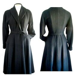 Rare 1940and039s Forstmann Black Wool Rabbit Hair Wrap Coat Fashioned By Rauch