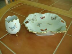 Limoges Porcelain Hors D'oeuvre Dish W/matching Toothpick Holder