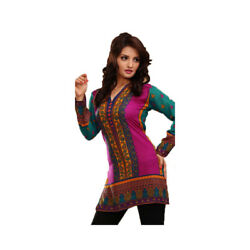 Printed Design women Crepe Kurti Long Sleeves Kurta Tunic Tops. 1916-L