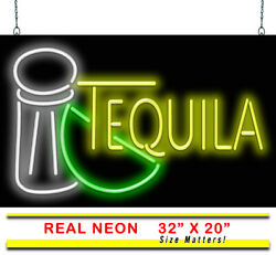 Tequila With Salt And Lime Neon Sign | Jantec | 32 X 20 | Drinks Bar Club Shot
