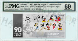 2018 Silver Mickey Mouse 90th Anniversary - 5g Coin Note - Pmg 69 First Releases