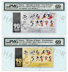 Mickey Mouse 90th Anniversary - Silver And Gold Coin Note - Pmg 69 First Releases
