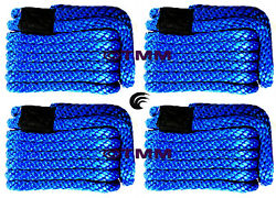 4 New Blue Solid Braid Mfp 3/8 X 15' Ft Boat Marine Dock Lines Mooring Ropes