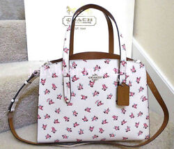 COACH 26964 FLORAL BLOOM PEBBLE LEATHER CHARLIE CARRYALL CROSSBODY BAG Chalk