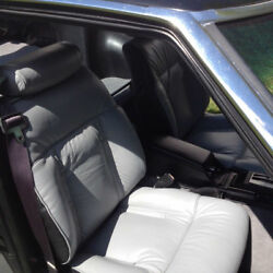 1979-1983 Datsun 280zx Replacement Leather Light Grey And Black Seat Cover