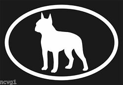 Pair of BOSTON TERRIER Oval Euro Decals Stickers dogs Puppies