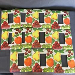 Lot of 11 Metal Light Switch Plate Cover Fruit Pears Cherries Kitchen Decor