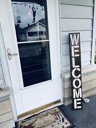 Welcome Farmhouse Wood Sign Front Door Entry Rustic Wood Sign Vertical Farm Sign