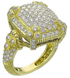 JUDITH RIPKA 18K YELLOW GOLD 2.70 CARAT  DIAMONDS -LUXURY DIAMONDS PAVE RING