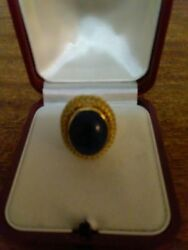 18 Kt Womenand039s Yellow Gold Blue Lapis Ring Size 6