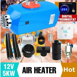 5KW 12V Car Auto Air diesel Heater Heating + Thermostatic switch + Silencer US