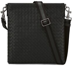 Bottega Veneta Intrecciato Leather Side Messenger Cross Body Bag Black