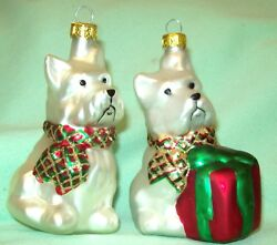2 DARLING White Westie West Highland Terrier Dog Glass Christmas Tree Ornaments