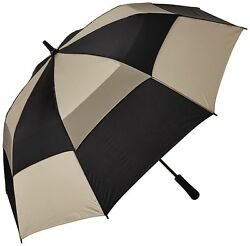 totes Auto Open Vented Golf Stick Umbrella  BlackBritish Tan  One Size