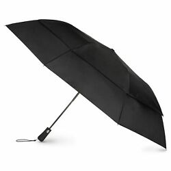 Totes Blue Line  Golf-Size Vented Canopy Compact Umbrella Black One Size
