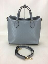Gucci Tote Bag Leather Gry Total Handle 2Waygg (46601