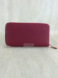 Hermes Wallet Red Leather Plain Ladies A Zap Long (54496