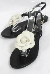 Chanel Coco Mark Camellia Flat Shoes Sandals Size38 Leather Strap D8A-25 (15469