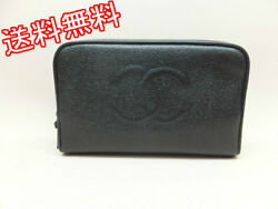 Chanel Cosmetics Pouch Makeup Bag Caviar 4689866 (30884