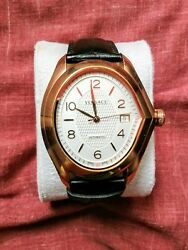 Versace V-master Automatic White Dial Black Leather Men's Watch