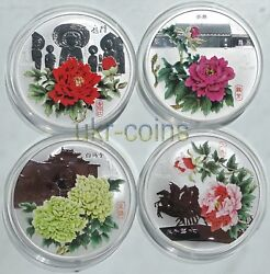 2008 Cook Islands Peony Flowers 4-coin Silver Proof Color Set 4x1oz Flora 1 Wwf