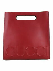 Gucci Handbag Tote Clutch Leather Red Plain Box (46826